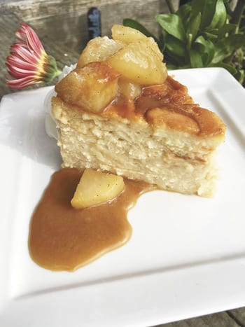 Caramel Cheesecake with Caramelized Pear Compote and Caramel Sauce